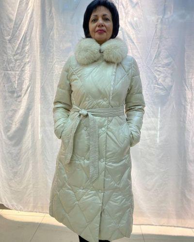 Пуховик с поясом - белый Maxmara