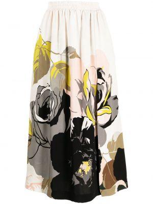 Шелковая с завышенной талией белая юбка Adam Lippes