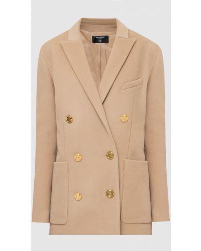Бежевое шерстяное пальто Balmain