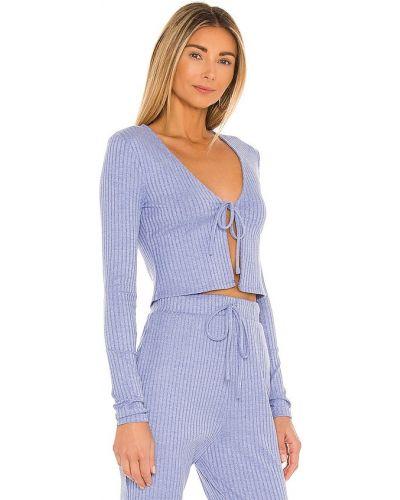 Niebieski prążkowany top elegancki Majorelle