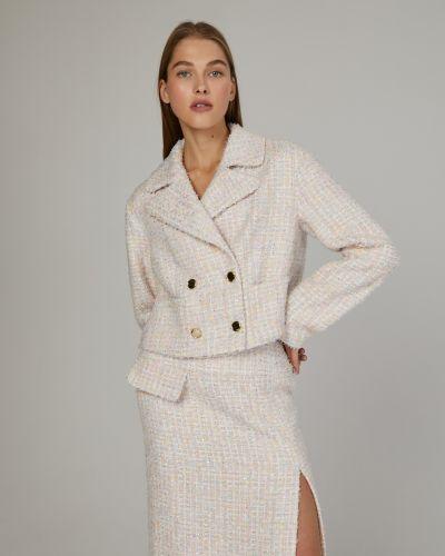 Классический пиджак твидовый с накладными карманами на пуговицах 12storeez