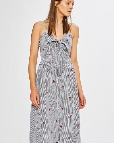 Платье миди с вышивкой на пуговицах Only