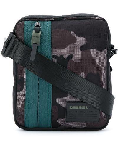 Черная сумка через плечо на молнии с карманами Diesel