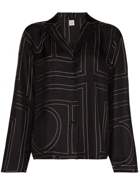 Czarna koszula z długimi rękawami z haftem Toteme