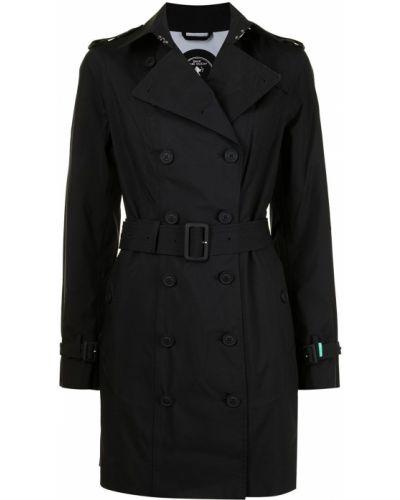 Czarny długi płaszcz materiałowy zapinane na guziki Save The Duck