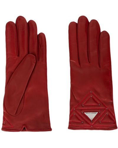 Стеганые красные перчатки Emporio Armani