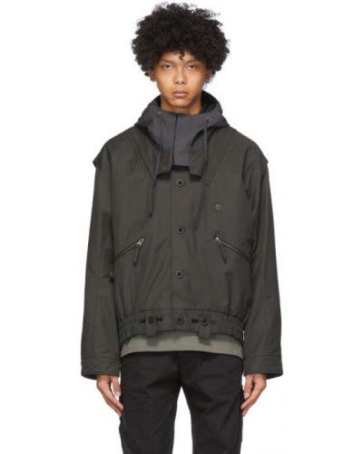 Długa kurtka z kapturem khaki bawełniana Blackmerle