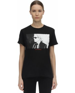 Ватная трикотажная черная футболка Karl Lagerfeld