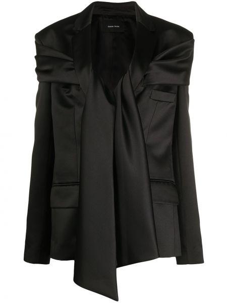 С рукавами черный удлиненный пиджак с лацканами с завязками Simone Rocha
