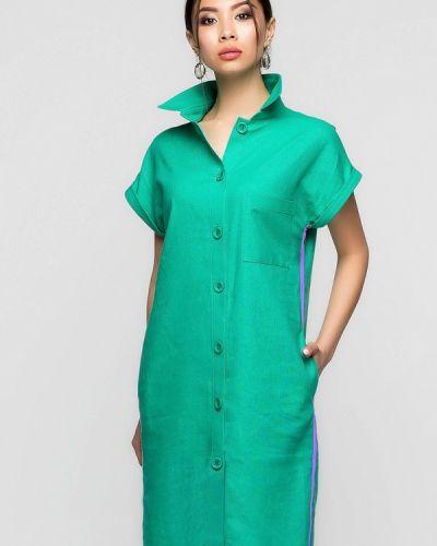 Платье мини весеннее зеленый A-dress