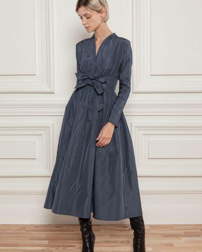 Платье с поясом - синее Dolcedonna