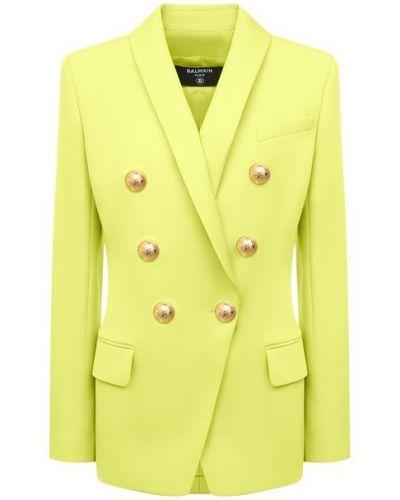 Шерстяной пиджак - зеленый Balmain