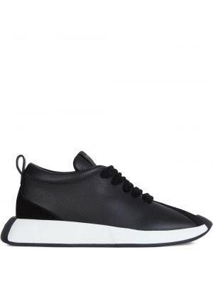 Skórzany czarny sneakersy na platformie Giuseppe Zanotti