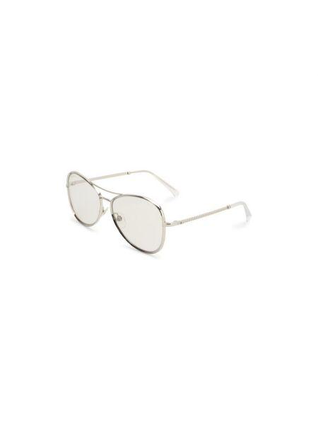 Серебряные солнцезащитные очки металлические Chanel