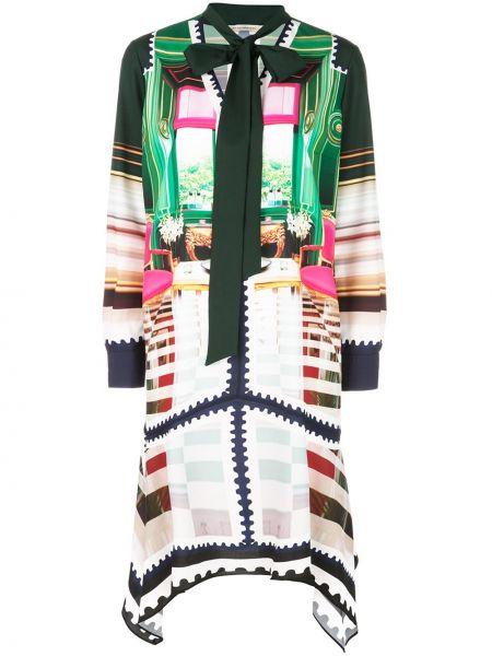 Зеленое асимметричное шелковое платье с бантом Mary Katrantzou
