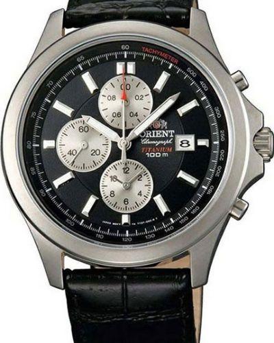 Часы водонепроницаемые с кожаным ремешком с подсветкой Orient