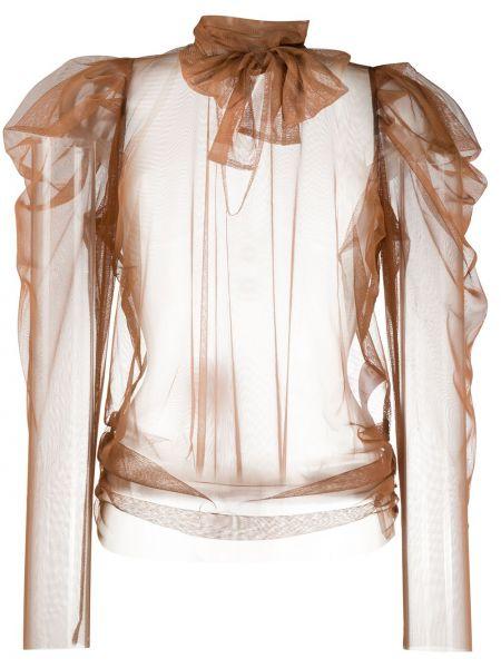 С рукавами коричневая блузка с длинным рукавом из фатина прозрачная Dorothee Schumacher