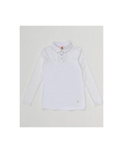 Школьная ажурная белая гипюровая блуза Button Blue