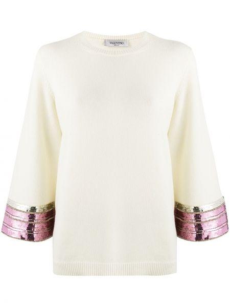 Свитер белый с вышивкой Valentino