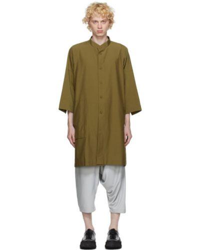 Рубашка с воротником с заплатками хаки с манжетами 132 5. Issey Miyake