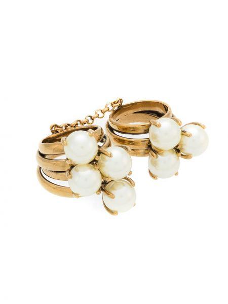 Золотистое кольцо металлическое золотое с декоративной отделкой à La Garçonne