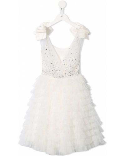 Белое расклешенное платье с пайетками без рукавов Tutu Du Monde