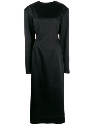 Облегающее черное платье миди с открытой спиной круглое Litkovskaya