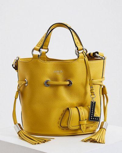 Желтая сумка из натуральной кожи Lancel