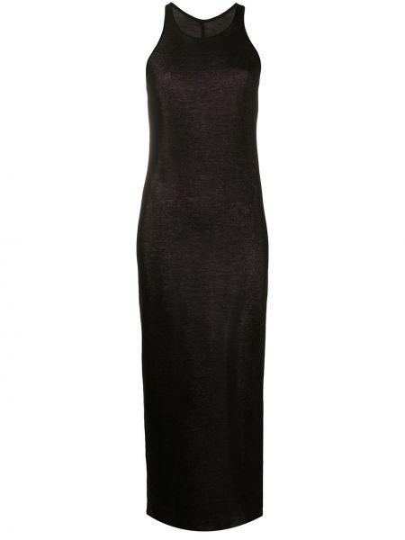 Bawełna wyposażone czarny sukienka midi bez rękawów Rick Owens