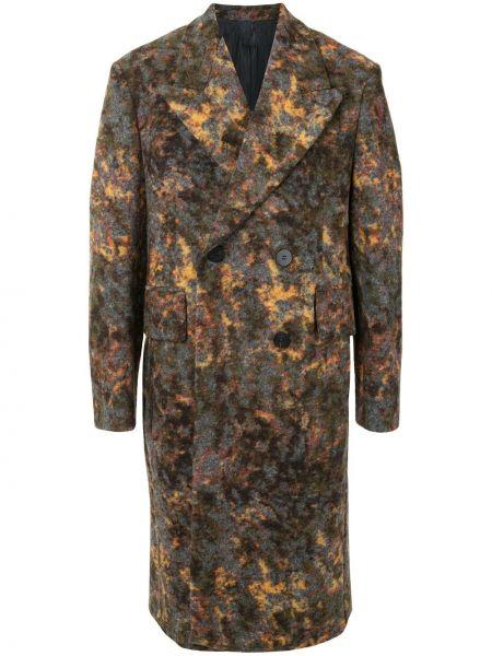 Серое классическое шерстяное пальто классическое на пуговицах Wooyoungmi