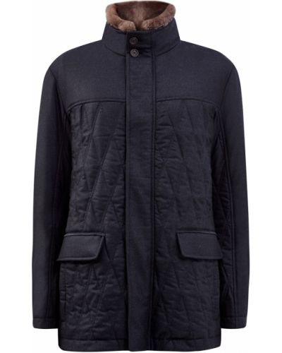 Стеганая синяя куртка с воротником Canali