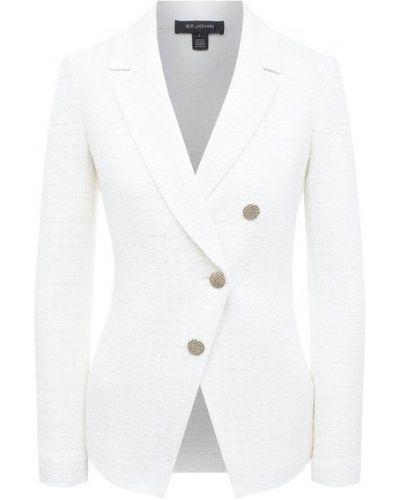 Шерстяной белый классический пиджак на пуговицах St. John