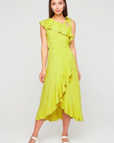 Платье миди весеннее желтый A-dress