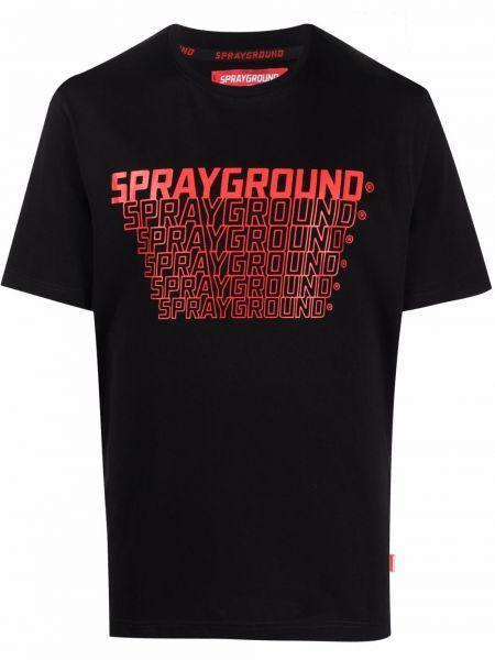 Черная прямая футболка Sprayground