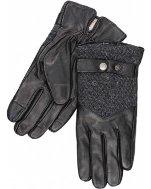 Кожаные перчатки шерстяные с узором Henderson