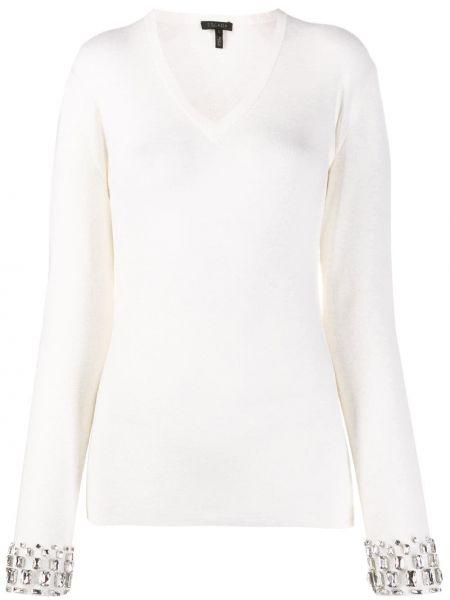 Белый шерстяной свитер со стразами узкого кроя Escada