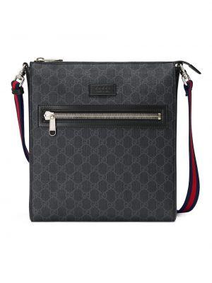 Черная парусиновая сумка мессенджер на молнии с нашивками Gucci