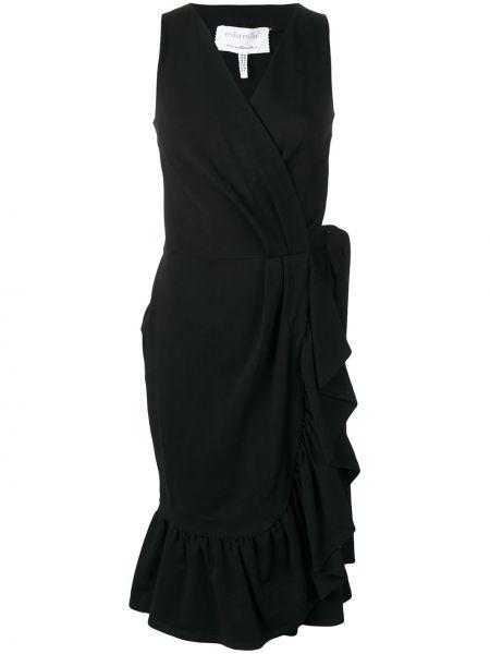 Платье миди с запахом с V-образным вырезом с оборками на молнии Milla Milla