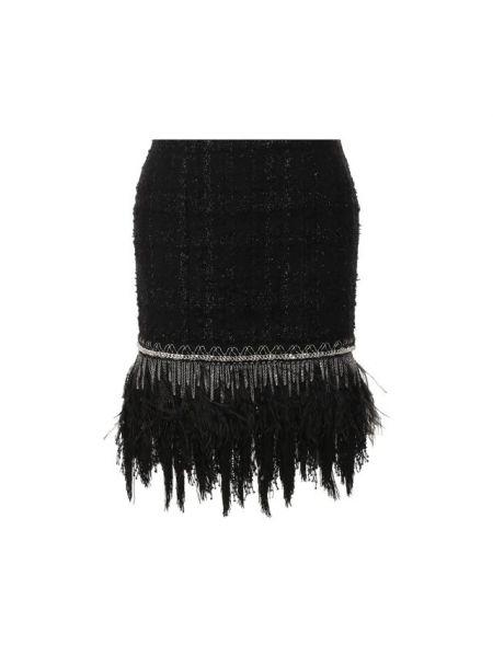 Шерстяная юбка мини - черная Balmain