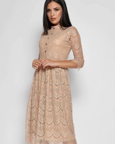 Вечернее платье осеннее бежевое Karree