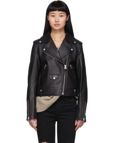 Черная кожаная длинная куртка с воротником Mackage