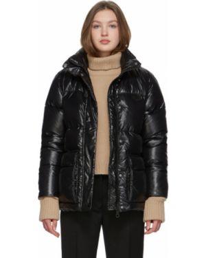 Сатиновая прямая черная стеганая куртка для полных Duvetica