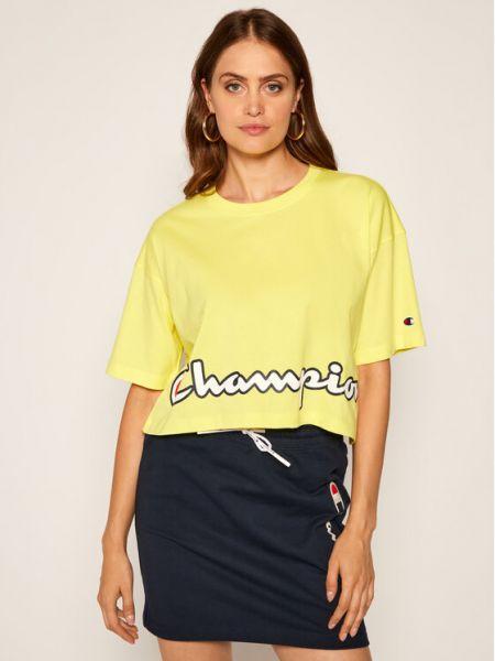 T-shirt z printem - żółta Champion