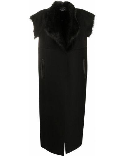 С рукавами прямое черное шерстяное укороченное пальто Andrea Ya'aqov
