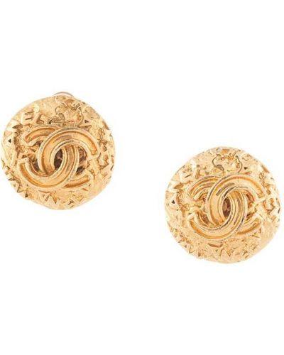 Złote kolczyki sztyfty pozłacane Chanel Pre-owned