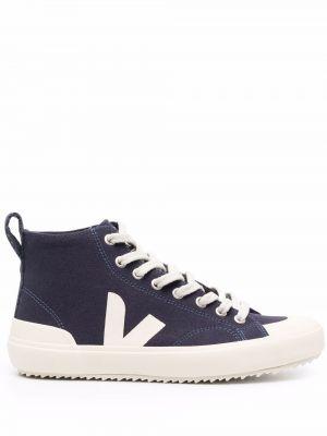 Высокие кеды на шнуровке - синие Veja