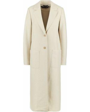 Шерстяное бежевое пальто с капюшоном Marc O`polo