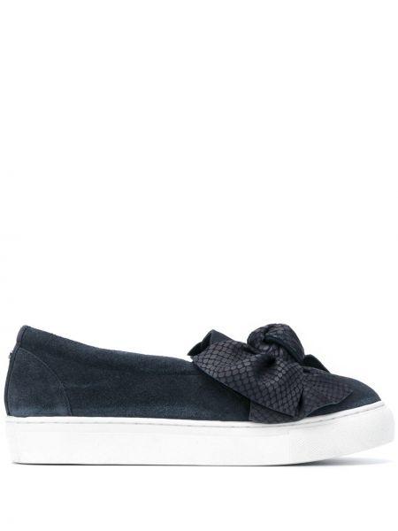 Niebieski sneakersy z prawdziwej skóry okrągły nos okrągły Carvela