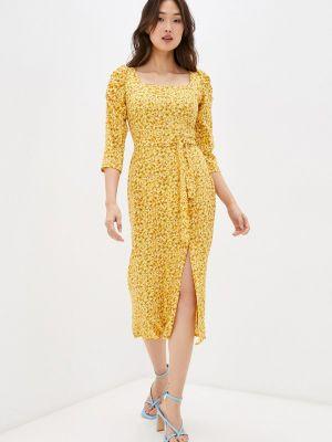 Желтое платье футляр Masha Mart