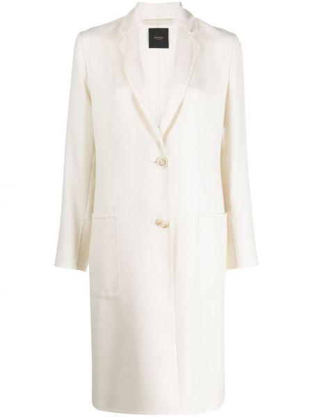 Белое кашемировое длинное пальто с капюшоном Agnona